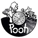 EVEVO Winnie the Pooh Wall Clock Vinyl Record Clock Art Vintage Silhouette Record Handmade Gift Home Wall Clock Interior Decor Art Clock