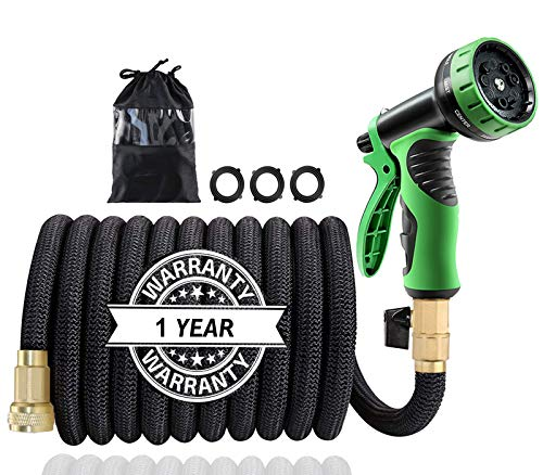 "50Ft Expandable Garden Hose, Extra Strength 3750D Fabric, Triple Latex Core, 3/4"" Solid Brass Connectors, New 9-Way Durable Spray Nozzle, Flexible Expanding Water Hose Car Washing, Vegetable Garden"