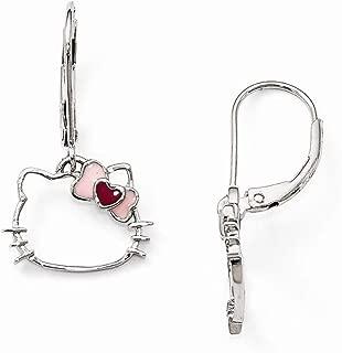 Sterling Silver Jewelry Drop & Dangle Earrings White Pink Hello Kitty Silhouette Enamel Heart/Bow Leverback Earrings