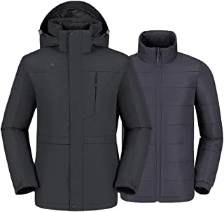 Men's 3 in 1 Waterproof Ski Jacket Winter Jacket, Windproof Puffer Liner Snow Jacket Coat for Hiking Snowboard