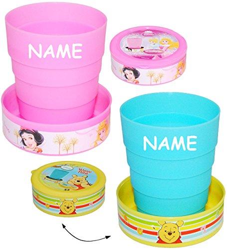 1 Stück _ Faltbarer - Zahnputzbecher / Becher -  Disney Winnie The Pooh  - incl. Name - Trinkbecher / Malbecher - Faltbar - Reisebecher - Reisefaltbecher - ..