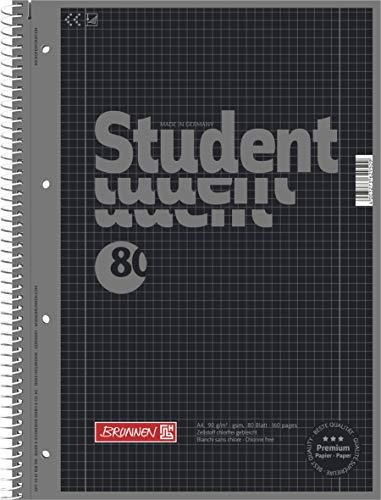 5er Set Collegeblock Student A4, Colour Code onyx, kariert (Lin. 28) 80 Blatt, 90g/m²