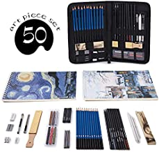 Professional Art Set 50 PCS Drawing and Sketching Set- Drawing, Sketching and Charcoal Pencils. 2 x 50 Page Drawing Pad!Kneaded Eraser included. Art Kit for Kids, Teens and Adults