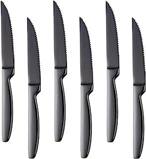 Bisda Ensemble de Couteau à Steak. Acier Inoxydable, 6 Pièces. Lavable au Lave-Vaisselle (Noir)