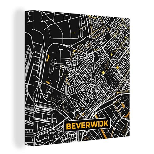 Canvas Schilderijen - Plattegrond - Beverwijk - Goud - Zwart - 50x50 cm - Wanddecoratie - canvas met 2cm dik frame
