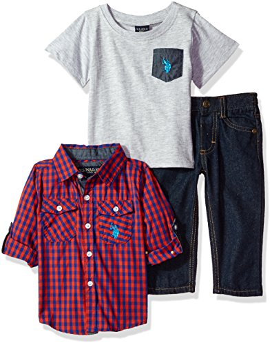 U.S. Polo Assn. Baby Boys' Sport Shirt, Creeper and Pant Set, 0676-Multi Plaid, 12M