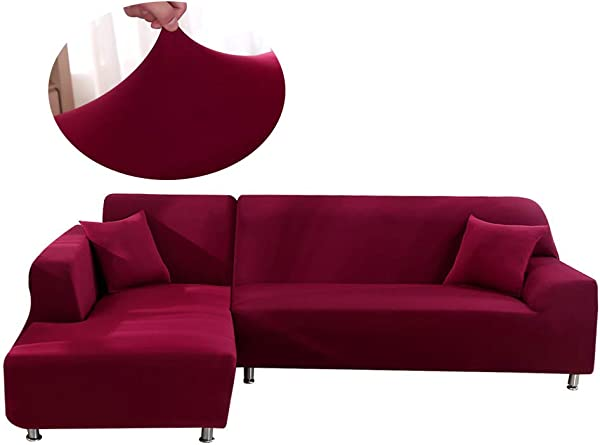 Mingfuxin Sectional Sofa Couch Slipcovers Anti Slip Stain Resistant Sectional Furniture Couch Protector Slipcovers For Kids Pets Living Room Left Right Chaise Burgundy
