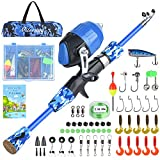 Milerong Kids Fishing Pole, Telescopic Fishing Rod and Reel Combo for Youths with Spincast Fishing Reel, Fishing Tackles, Fishing Lures, Fishing Lines and User Manual- Popular Gifts for Boys and Girls
