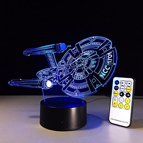 WHLQXD Mode Bunte Tischleuchten Star Trek 3D Lampen Bunte Touch Led Leuchten Bunte Fernbedienung Berühren Stimmungslichter