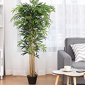 Byroce 5FT Fake Bamboo Tree Palm Tree Greenery Plants in Nursery Pot Decorative Trees with Dark Green Leaves Assembly & Maintenance Free Artificial Tree for Home Office
