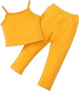 ملابس أطفال أزياء الصدرية حمالة تي شيرت أعلى لون سادة بنطلون تودجر فتاة الصيف 2 قطع مجموعات الزي