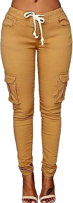 Women's Solid Color Drawstring Skinny Pants Multi Pocket Stretch Cargo Pant Ladies Slim Elastic Waist Casual Trousers (Small,Khaki 1)