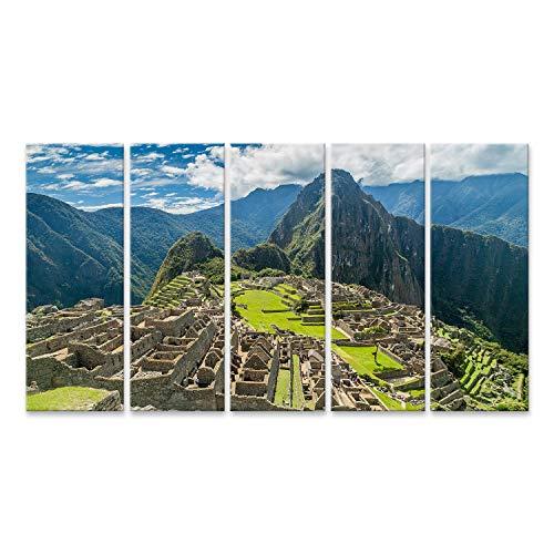 islandburner, Cuadros de Salon Ruinas de Machu Picchu en Perú Cuadro Decoracion de Pared Impresión en Lienzo Formato Grande Modernos PHK-5P-N