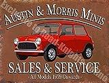 RKO Mini Austin y Morris, Sales & Service Coche Garaje Vintage Acero/Metal Pared - 30 x 40 cm