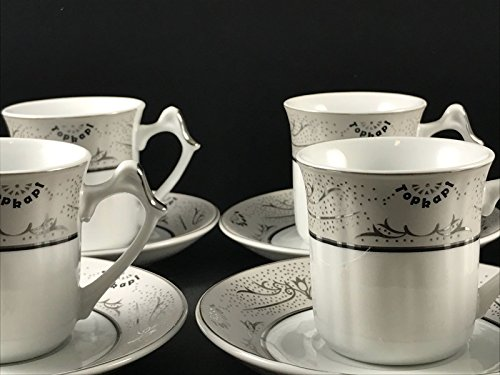 Topkapi – 12-TLG Tassen-Set Gloria Silber, als Kaffee-Set, Tee-Set, Espresso-Set, Porzellan mit Silberdekor, für 6 Personen
