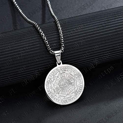 CAISHENY Collar Oro Negro Plata Color Hombres S Collar Estrella de David Ronda T El Sello de los Siete arcángeles Collares Joyería Masculina