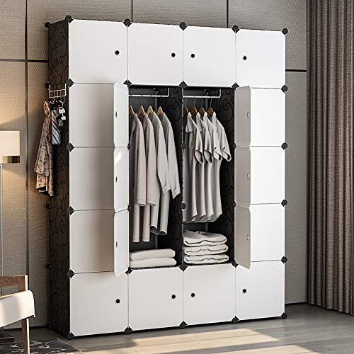 YOZO Modular Wardrobe Portable Clothes Closet Dresser Garment Rack Polyresin Storage Organizer Bedroom Armoire Cubby Shelving Unit Multifunction Cabinet DIY Furniture Black 20 Cubes