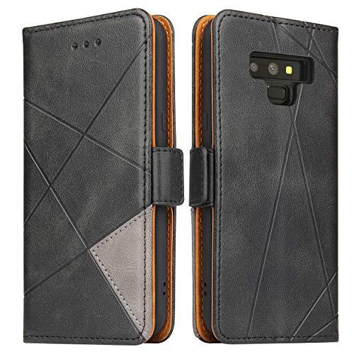 BININIBI Handyhülle für Samsung Note 9 Hülle, Galaxy Note 9 Lederhülle Handytasche, Klapphülle Tasche Leder Schutzhülle für Samsung Galalxy Note 9, Schwarz