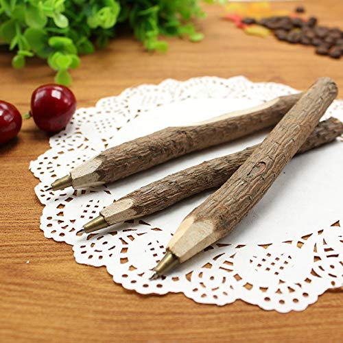 Bolígrafo de madera respetuosa con el medio ambiente, 10 unidades, diseño de rama de la naturaleza, bolígrafo de corteza degradable, color verde, color Wood color bolígrafo de punta redonda