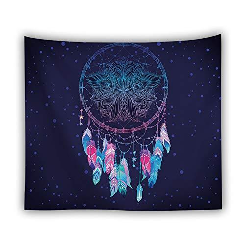 Wandteppich Traumfänger Wandteppich Psychedelic Mandala Feder Muster Design aus Polyester Hausdekor Boho Deko Tuch Wandtuch Wandbehang 200X150cm
