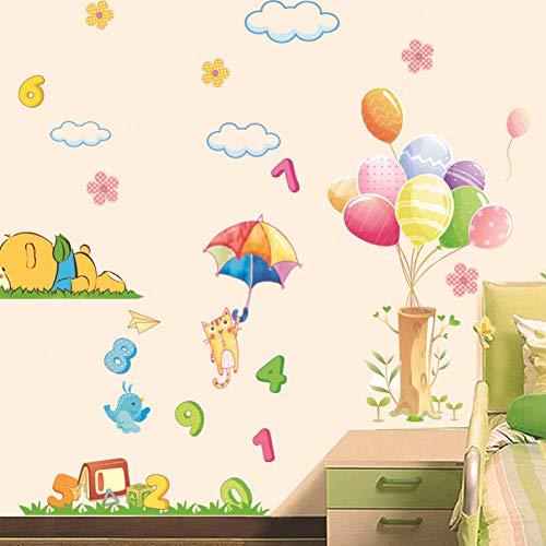 MMLFY Muursticker Leuke beer vliegende kat wolken ballon Arabische cijfers muur stickers kinderkamer baby slaapkamer muur decoratie verwijderbare stickers