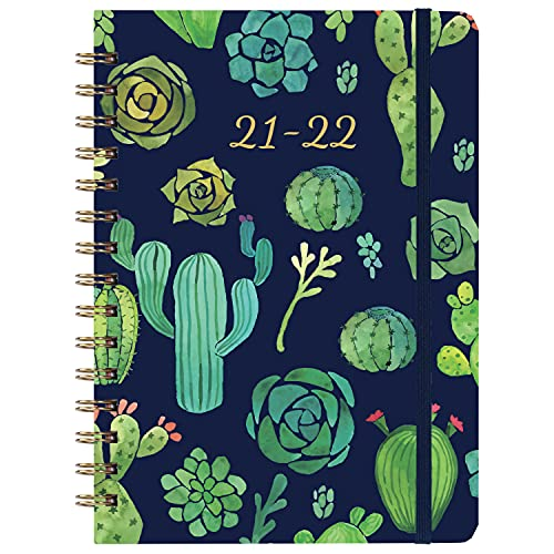 """2021-2022 Planner - Academic Weekly & Monthly Planner with Tabs, 6.3"""" x 8.4"""", July 2021 - June 2022, Hardcover with Back Pocket + Thick Paper + Banded, Twin-Wire Binding - Cactus"""