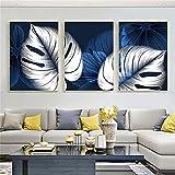 Kingkoil Abstracto Azul Azul Hoja Hoja Carteles Impresión Moderna Decoración Para El Hogar Imagen Pa...