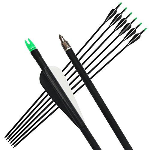 PA 33inch Archery Hunter Nocks Fletched Arrows Fiberglass Arrow Steel Point 30-80lbs for Recurve Bow Target Arrow (12pcs)