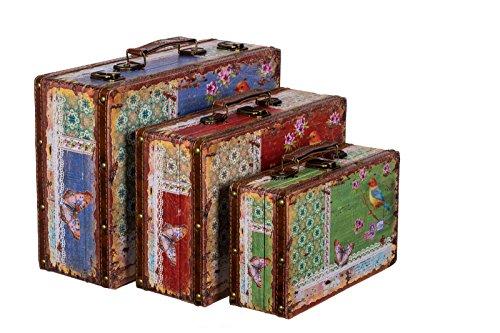 Truhe Kiste KD 1290 Koffer, Kofferset, Holztruhe mit edlem Leder bezogen Set Größe M + L + XL