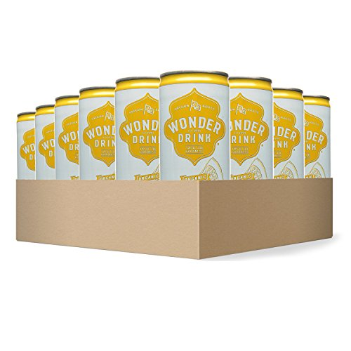 Wonder Drink Kombucha, Organic Green Tea with Lemon Sparkling Fermented Tea, 8.4oz Can (Pack of 24)