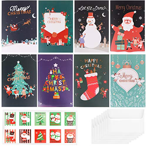 XIDAJIE 48 Pack Merry Christmas Cards Christmas Holiday Winter Holiday Greeting Cards, 8 Styles of Festive Design Greeting Holiday Cards, Envelopes and Sealing Stickers Included