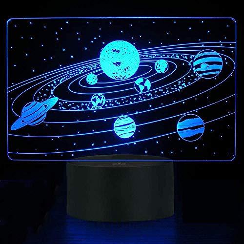 3D Sonnensystem Illusionslampe, Nachtlicht Touch Desk Lampen Kinderzimmer Dekor Beste Festival Geburtstagsgeschenke für Jungen Mädchen-7 Farben ändern