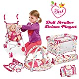 Liberty Imports 5-in-1 Deluxe Newborn Baby Doll Stroller Nursery Playset with Play Mat