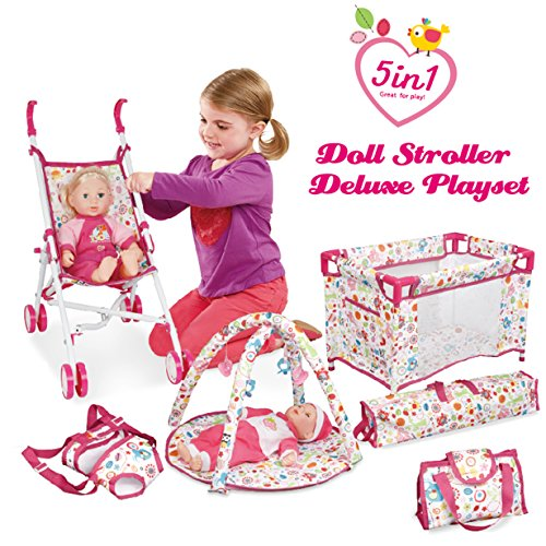 Liberty Imports 5-in-1 Deluxe Newborn Baby Doll Stroller Nursery Playset with Play Mat, Playard, Baby Carrier, and Travel Bag (Doll Included)