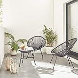 Alice's Garden Conjunto de 2 sillones en Forma de Huevo Acapulco con Mesa Auxiliar - Negro - Sillones de diseño Retro...