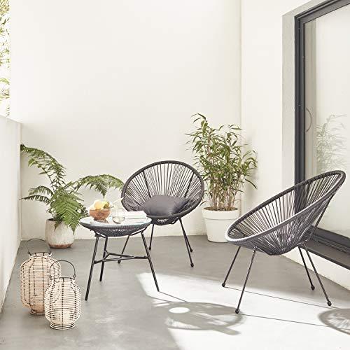 Alice's Garden Conjunto de 2 sillones en Forma de Huevo Acapulco con Mesa Auxiliar - Negro - Sillones de diseño Retro de 4 Patas, con Mesa de Centro, cordón de plástico, Interior/Exterior