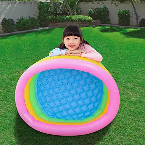 routinfly Aufblasbarer Pool, 86x25cm 3 Ringe Kreise Aufblasbarer Kinderpool Für Sommerwasserparty Familienbaby-Pool Für Outdoor, Garten, Garten (Mehrfarbig)
