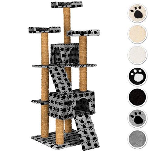 TecTake Rascador Árbol para gatos 169 cm de altura - disponible en diferentes colores - (gris con patitas   No. 402193)