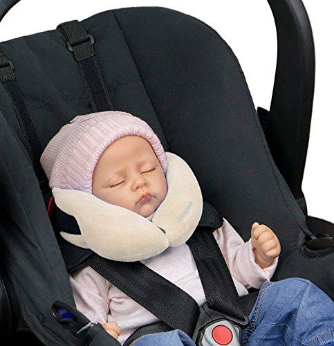 SANDINI SleepFix Baby - cuscino per il collo - Accessorio per seggiolino per bambini per auto/bici/viaggi - Poggiatesta/riduzione per seggiolino/Impedisce l'inclinazione della testa durante il sonno