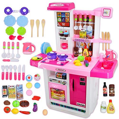deAO Cocinita 'Mi Pequeño Chef' con Características de Sonidos, Panel Táctil y Agua Más de 40 Accesorios Incluidos (Rosa) , color/modelo surtido