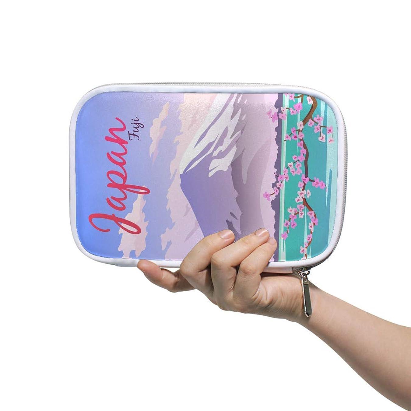 植物学クローンファンシーZHIMI 化粧ポーチ メイクポーチ レディース コンパクト 柔らかい おしゃれ コスメケース 化粧品収納バッグ 綺麗な桜 富士山絵柄 機能的 防水 軽量 小物入れ 出張 海外旅行グッズ パスポートケースとしても適用