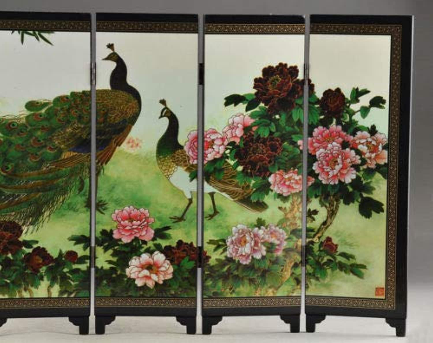 Buntha.winee7098 Fold Room Divider Details Old About Superb Beautiful Oriental Lacquer Handwork Painting Peafowl fold Screen