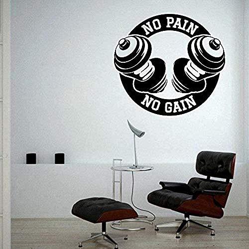 Pegatinas De Pared Motivación No Pain No Gain Vinilo Tatuajes De Pared Dormitorio Interior Del Hogar Decoración Deporte Fitness Art Sticker Home Gym Decorar 62X57cm