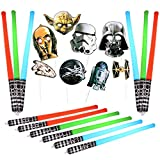Majika 20 Pack Star Galaxy Wars Photo Booth Set - 12 Inflatable Light Saber Sword Toy & 8 Star Wars Photo Props | Children Costume Pretend Play Army Sword Set with Photo Booth Prop for Birthday Party Supplies, Baby Shower, Universe Planets Favor for Kids | Jedi, Yoda, Sith, LARP