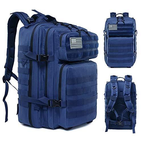Man Dames Wandelen Trekkingtas Rugzak 45L Militaire Tactische Rugzak Leger Waterdichte Molle Bug Out Bag Outdoor Travel Camping Rugzak, Blauw