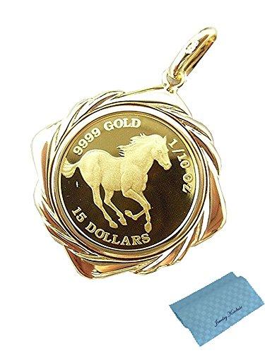 ジュエリーコトブキ ホース馬 クイーンエリザベス II コイン ペンダント トップ 24金 K24 1/10 OZ (枠 18金) お磨きクロス付ギフトセット