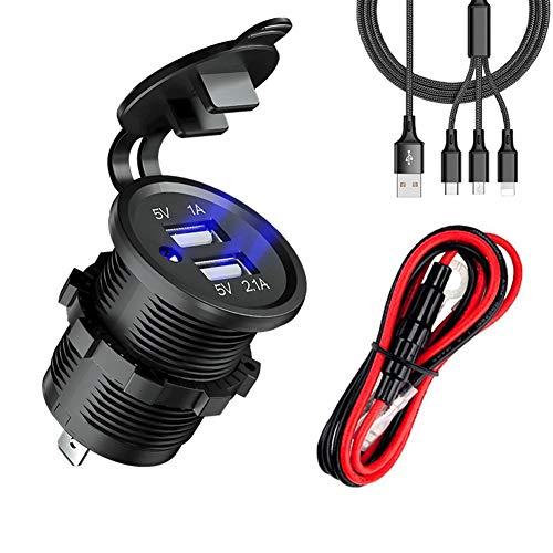 ZDZHU autolader, 12 V/24 V waterdicht 3.1A Dual USB snellaadbus stopcontact, met draadbeveiliging DIY kit, voor marine/boot/motorfiets/vrachtwagen/camper en meer