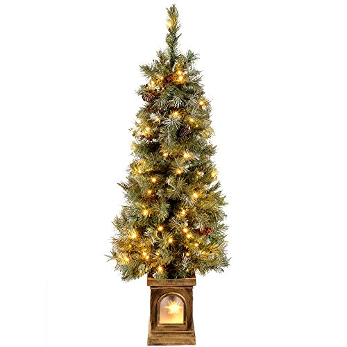 WeRChristmas Pre-Lit Scandinavian Blue Spruce Christmas Tree with 80 Warm White LED Lights, 4 feet/1.2 m - Green
