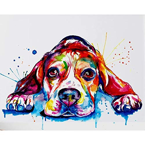 5d Diamond Painting Kits for Adults Kids,Full Diamond Embroidery Rhinestone Cross Stitch Arts Craft Colorful Dog 008 15.7x11.8 in By Bemaystar