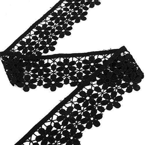 Pixnor Gestickte Blume Spitze trimmen Einfassung Trim Nähen Handwerk 8cm 3yd (schwarz)